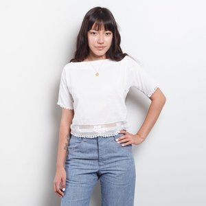 Vintage White Crop Top